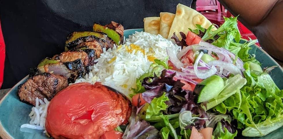 luna grill plate beef rice salad