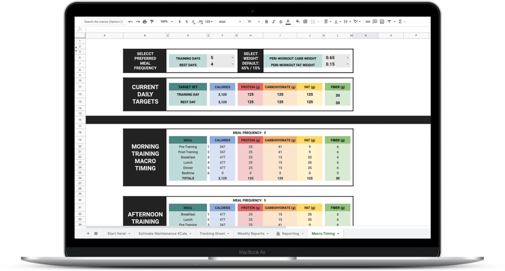 Macronutrient Reporting & Check-In Template Nutrition Coaching Client Progress Sheet