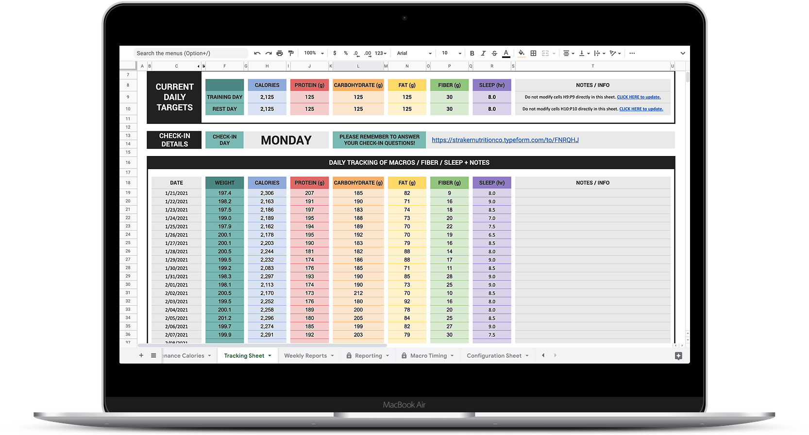 straker nutrition co check-in system done-for-you nutrition coaching macros spreadsheet